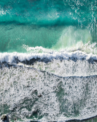 Foto-Schiebegardine Komplettsystem - Aerial of a beach with waves at sunset with nice tones and warm summer vibes.