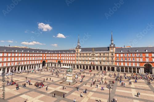 Madrid Spain, aerial view city skyline at Plaza Mayor Fotobehang