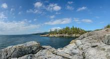 Entrance To Smuggler Cove Park From Cliffs, Sunshine Coast, Canada.
