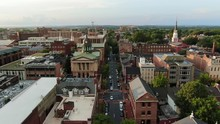 Dolly Aerial Shot Tracking Street In Lancaster, Pennsylvania, USA In Summer, Courthouse, Church Steeple