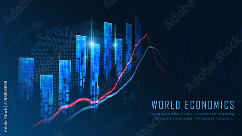 Cuadros en Lienzo  Stock market or forex trading graph concept