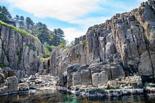 The Columnar Joint Rocks And The Limb Of The Sea At Tojinbo Located In Mikuni Town, Sakai City, Fukui Pref. Japan.