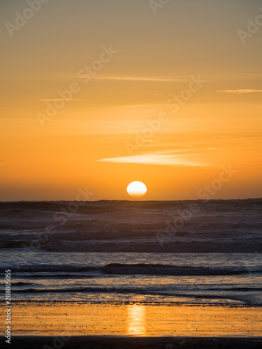 Sunset over the Ocean, Orange Sky and Dark Blue Waves, Pacific Ocean
