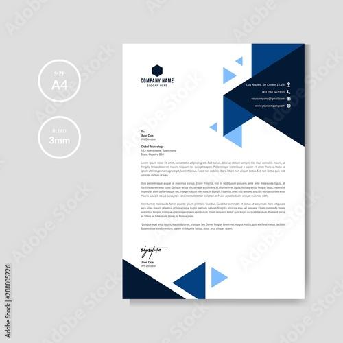 Fototapeta Professional blue letterhead graphic template obraz