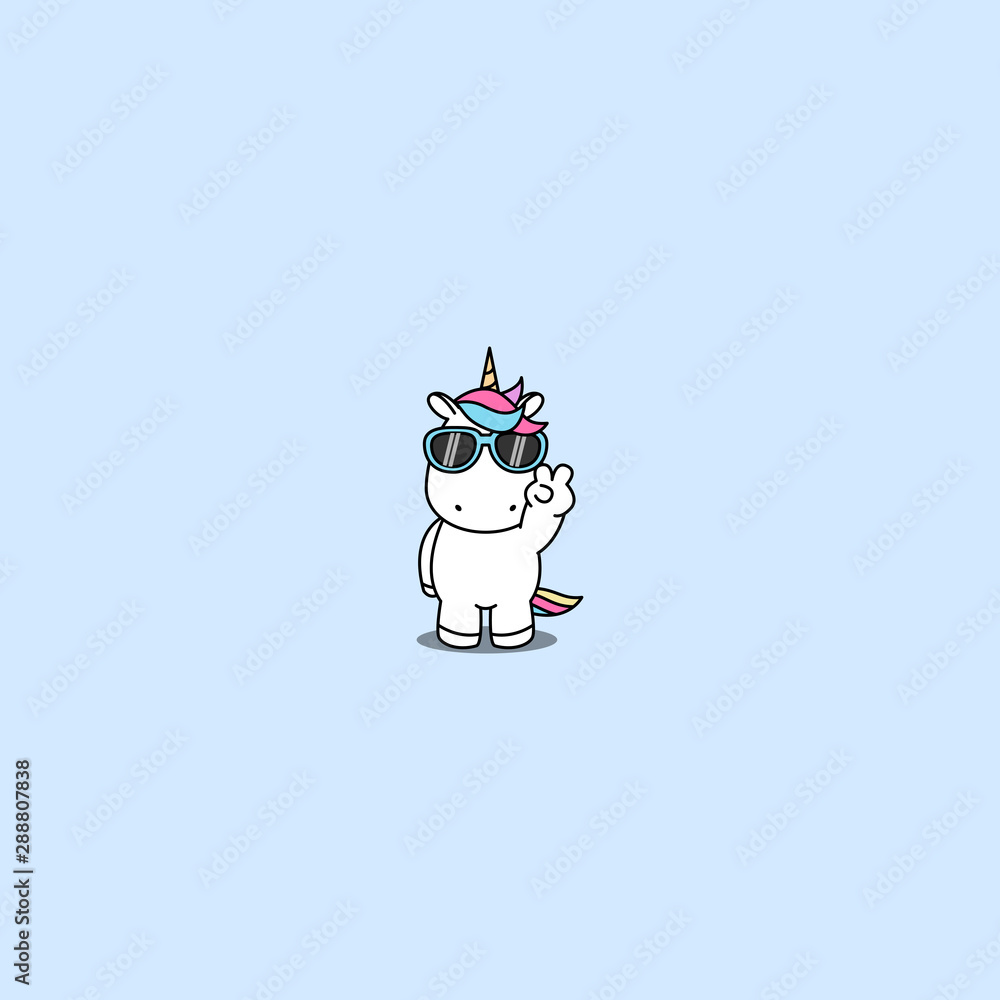 Fototapety, obrazy: Cute unicorn with sunglasses doing victory sign, vector illustration
