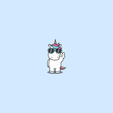 Cute unicorn with sunglasses doing victory sign, vector illustration