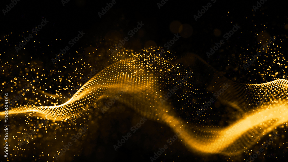 Fototapety, obrazy: Gold color digital particles wave flow abstract technology background concept