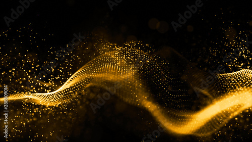 Leinwand Poster  Gold color digital particles wave flow abstract technology background concept