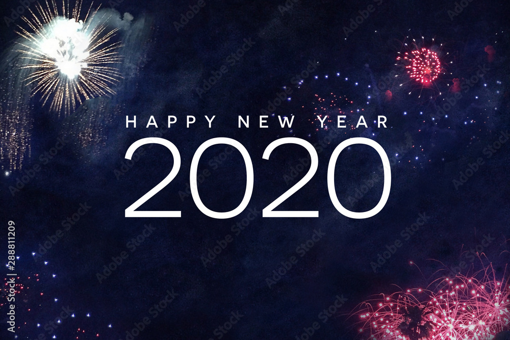 Fototapeta Happy New Year 2020 Typography with Fireworks in Night Sky