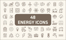 Set Of 48 Energy And Ecology Line Style.  Contains Such Icons As Solar Panels, Oil, Solar Power, Green Energy, Power Socket, Bulb, Wind Power Generation, Wind Turbine And More.