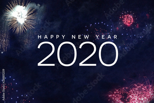 Photo  Happy New Year 2020 Typography with Fireworks in Night Sky