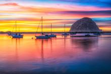 Morro Rock And Boats At Sunset