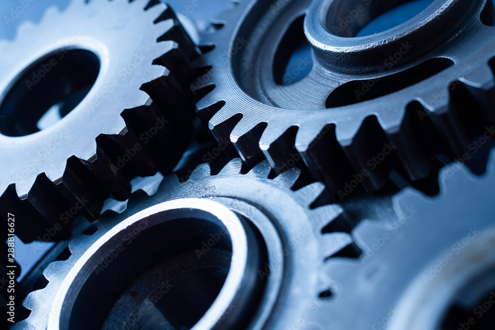 Fototapety, obrazy: perspective view of industrial engine gear wheel