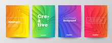 Set Of Minimal Abstract Organic Curved Wave Shape On Vivid Gradient Colors Background For Brochure, Flyer, Poster, Leaflet, Annual Report, Book Cover, Graphic Design Layout Template, A4 Size