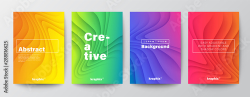 Set of minimal abstract organic curved wave shape on vivid gradient colors background for Brochure, Flyer, Poster, leaflet, Annual report, Book cover, Graphic Design Layout template, A4 size - 288816625