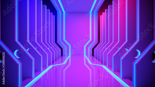 SciFi Modern Futuristic With Neon Glowing ,Purple and Blue Lights with blackgro Fototapete