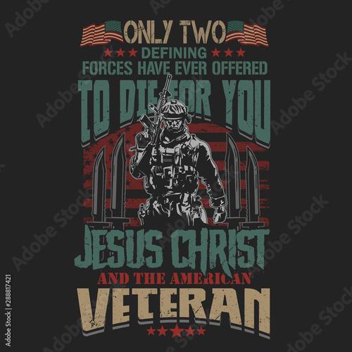 Fotografie, Obraz  proud to be veteran soldier illustration vector