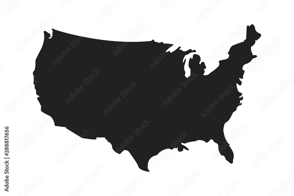 Fototapety, obrazy: American isolated vector icon. Country map shape. Isolated white background. American patriotic background.