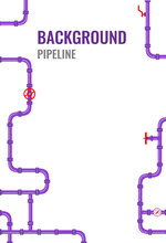 Vertical Industrial Background With Purple Pipes For Water, Gas, Oil, Sewage.Vector Illustration In A Flat Style.