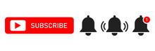Subscribe Red Button Abd Notification Bells Isolated Symbols. Smartphone Social Media Interface. Message Bell Icon.