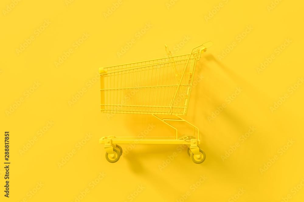 Fototapety, obrazy: Yellow shopping cart. Minimal idea concept.