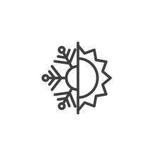 Thermal And Cold Resistant Line Icon. Snowflake And Sun Linear Style Sign For Mobile Concept And Web Design. Heat And Frost Insulation Outline Vector Icon. Symbol, Logo Illustration. Vector Graphics