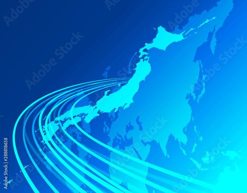 日本地図 日本経済 経済成長 ビジネスイメージ グローバル 地図 世界販売 Fototapeta