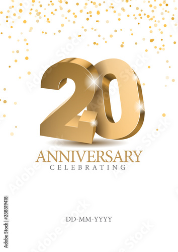 Anniversary 20. gold 3d numbers. Poster template for Celebrating 20th anniversary event party. Vector illustration Fotomurales