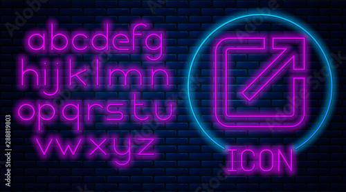 Glowing neon Open in new window icon isolated on brick wall background Canvas Print