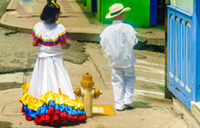 Children Dressed With Traditional Colombian Costume In Salento, Colombia
