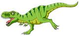 Fototapeta Dinusie - Cartoon green t-rex dinosaur growling