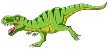 Cartoon Green T-rex Dinosaur Growling