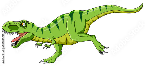 Cartoon green t-rex dinosaur growling #288823013