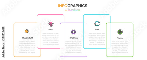 Infographic design with icons and 5 options or steps Canvas Print