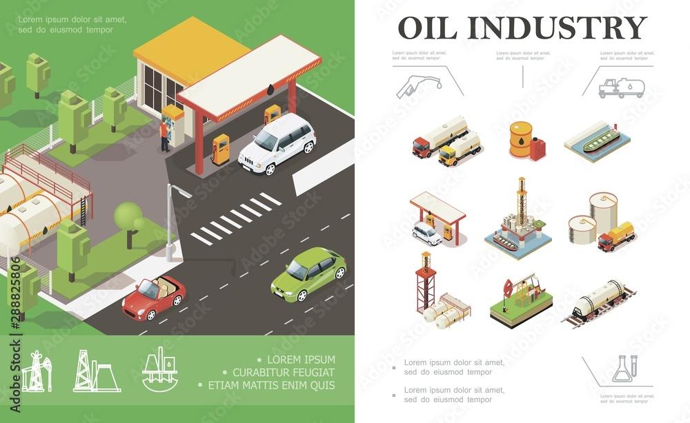 Fototapeta Isometric Oil Industry Concept