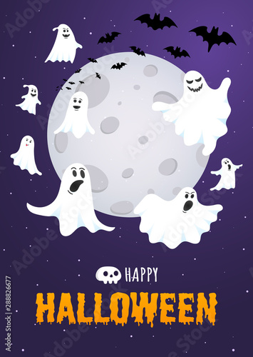 Poster Halloween Happy Halloween text postcard banner with ghosts scary face, night sky, moon, flying bats and text happy halloween isolated on dark background flat style design.