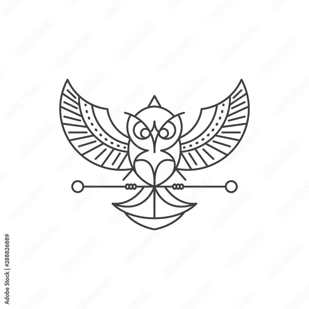 Line art style Owl logo Design. High Quality Vector Illustration