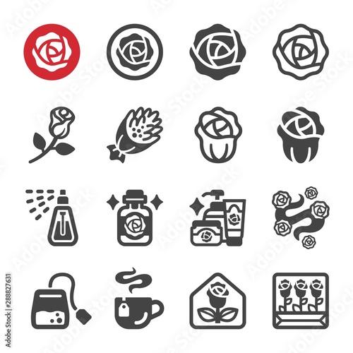 Fotografie, Obraz  rose flower icon set,vector and illustration
