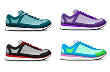 Sneakers Shoes Realistic Set