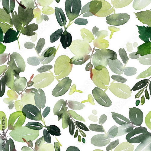 Fototapety, obrazy: Seamless watercolor pattern with branches on a white background.