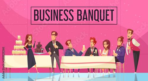 Slika na platnu Business Banquet Cartoon Illustration