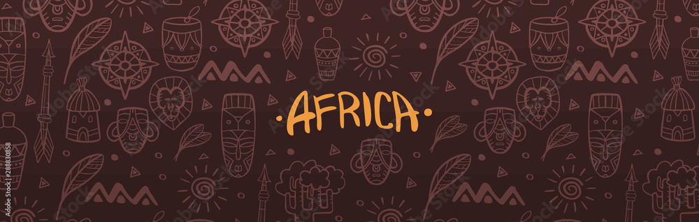 Fototapeta Hand draw doodles of Africa word. Colorful illustration. Background with lots of objects.