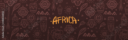 Obraz Hand draw doodles of Africa word. Colorful illustration. Background with lots of objects. - fototapety do salonu