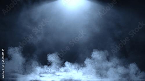 Fototapeta Dry ice smoke clouds fog floor texture.Perfect spotlight mist effect on isolated black background. Design element. obraz