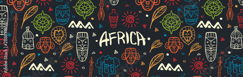 Fototapeta Hand draw doodles of Africa word. Colorful illustration. Background with lots of objects. obraz