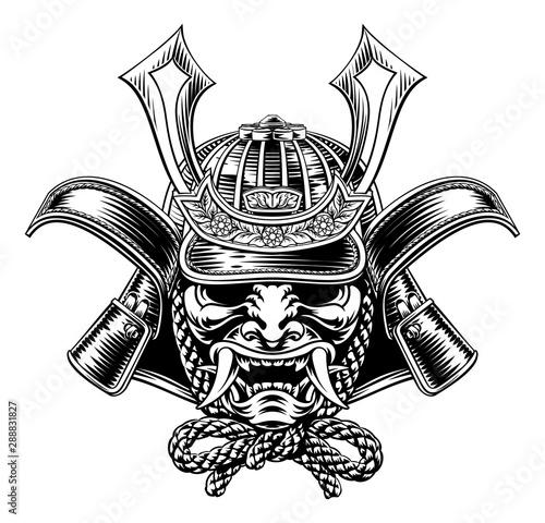 Fotografie, Obraz A samurai mask Japanese shogun warrior helmet illustration