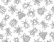 Pest Control Seamless Pattern With Flat Line Icons. Insects Background - Mosquito, Spider, Fly, Cockroach, Ant, Termite Vector Illustrations For Extermination Service