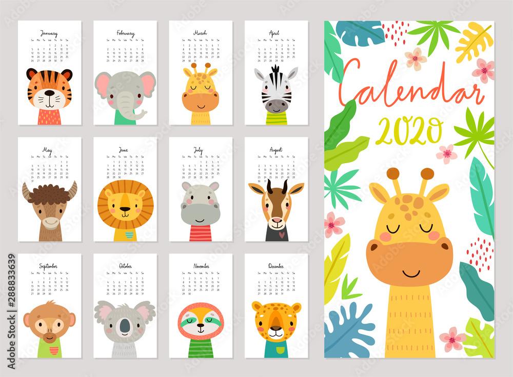 Fototapety, obrazy: animals calendar 2020