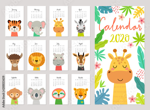 plakat animals calendar 2020