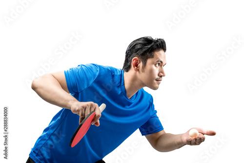 Cuadros en Lienzo  Asian table tennis player man in serving position